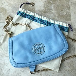 Tory Burch Amanda Blue Crossbody Logo Bag Purse
